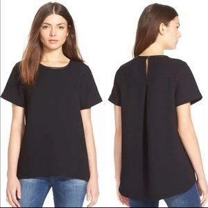 Madewell Black Leather Collar Blouse